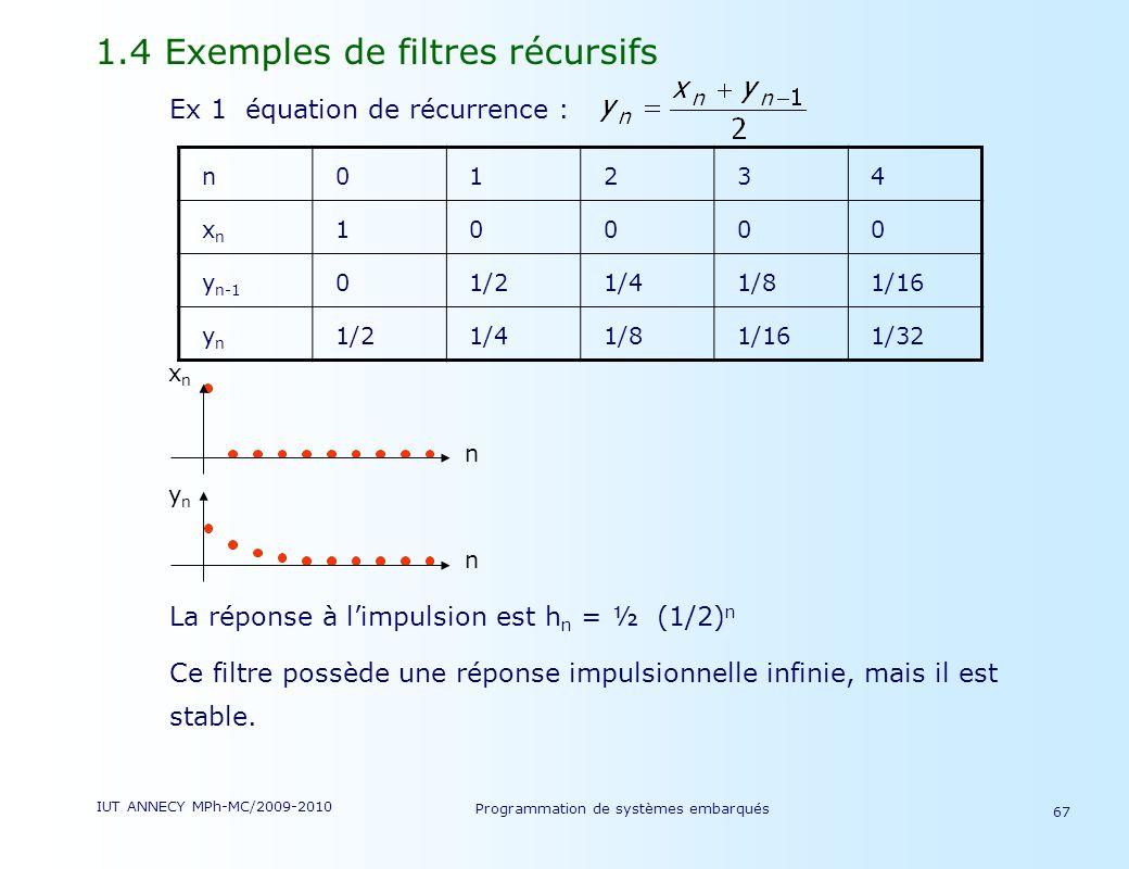 IUT ANNECY MPh-MC/2009-2010 Programmation de systèmes embarqués 67 1.4 Exemples de filtres récursifs Ex 1 équation de récurrence : La réponse à limpulsion est h n = ½ (1/2) n Ce filtre possède une réponse impulsionnelle infinie, mais il est stable.
