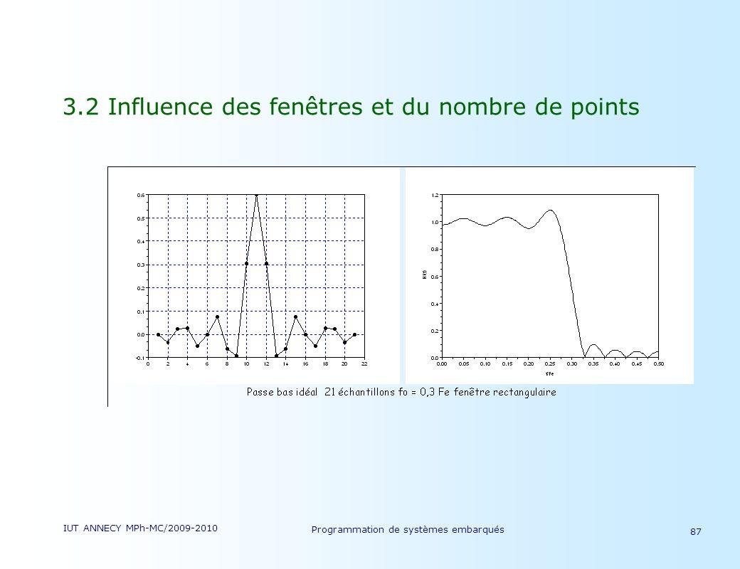IUT ANNECY MPh-MC/2009-2010 Programmation de systèmes embarqués 87 3.2 Influence des fenêtres et du nombre de points