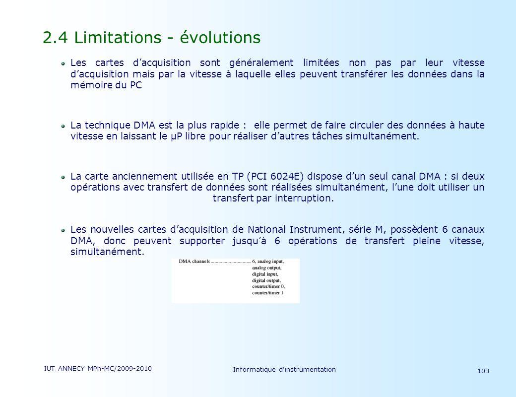 IUT ANNECY MPh-MC/2009-2010 Informatique d'instrumentation 103 2.4 Limitations - évolutions Les cartes dacquisition sont généralement limitées non pas