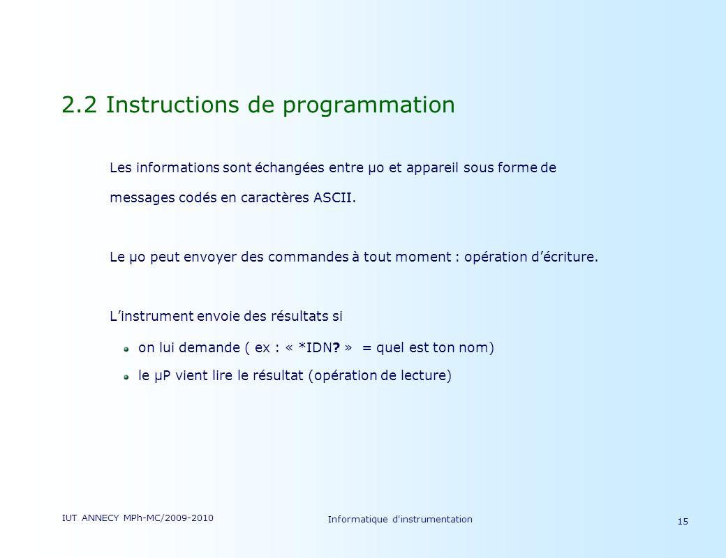 IUT ANNECY MPh-MC/2009-2010 Informatique d'instrumentation 15 2.2 Instructions de programmation Les informations sont échangées entre µo et appareil s