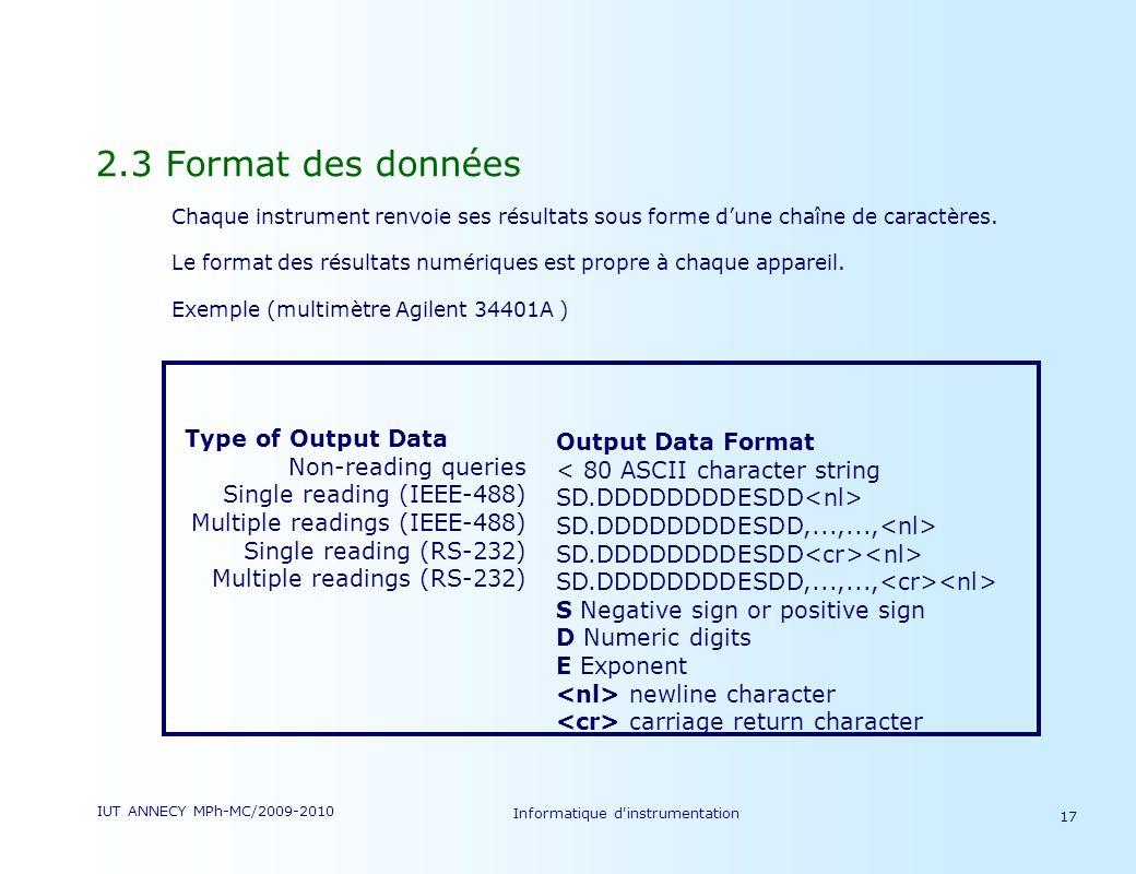 IUT ANNECY MPh-MC/2009-2010 Informatique d'instrumentation 17 2.3 Format des données Chaque instrument renvoie ses résultats sous forme dune chaîne de