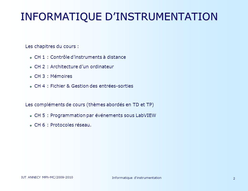 IUT ANNECY MPh-MC/2009-2010 Informatique d'instrumentation 2 INFORMATIQUE DINSTRUMENTATION Les chapitres du cours : CH 1 : Contrôle dinstruments à dis