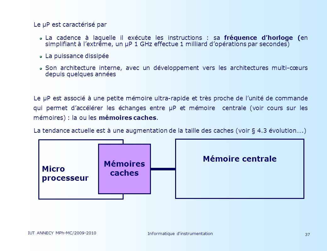 IUT ANNECY MPh-MC/2009-2010 Informatique d'instrumentation 37 Le µP est caractérisé par La cadence à laquelle il exécute les instructions : sa fréquen