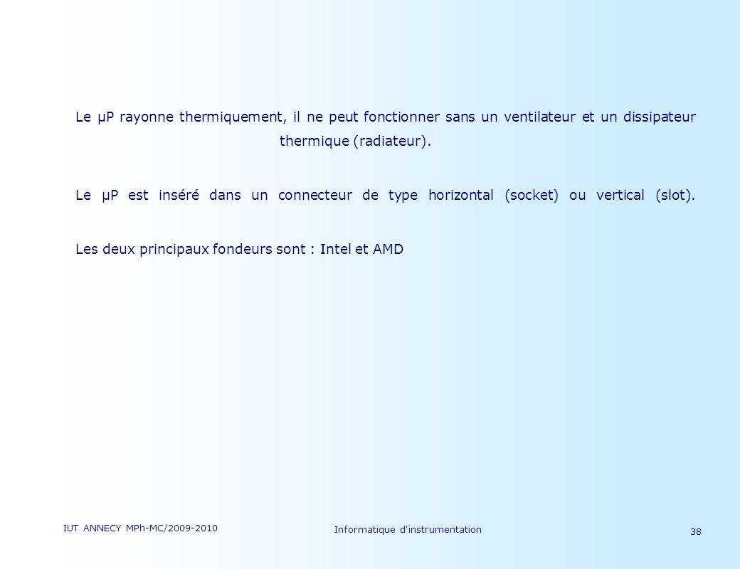 IUT ANNECY MPh-MC/2009-2010 Informatique d'instrumentation 38 Le µP rayonne thermiquement, il ne peut fonctionner sans un ventilateur et un dissipateu