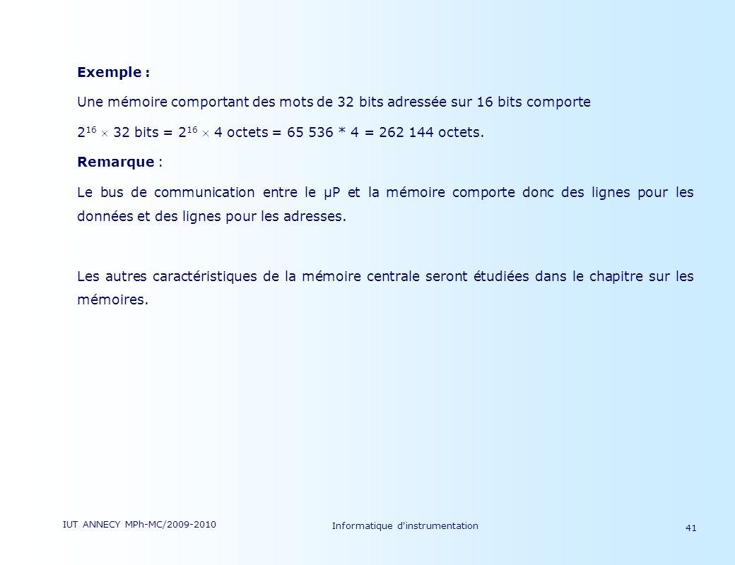 IUT ANNECY MPh-MC/2009-2010 Informatique d'instrumentation 41 Exemple : Une mémoire comportant des mots de 32 bits adressée sur 16 bits comporte 2 16