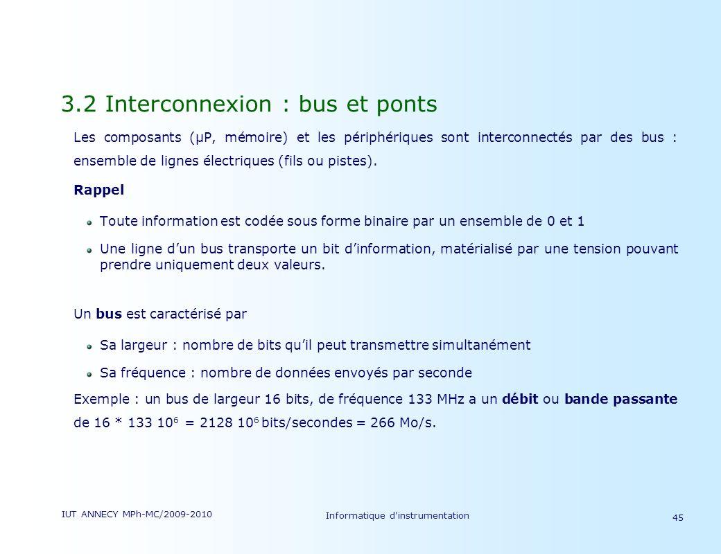IUT ANNECY MPh-MC/2009-2010 Informatique d'instrumentation 45 3.2 Interconnexion : bus et ponts Les composants (µP, mémoire) et les périphériques sont