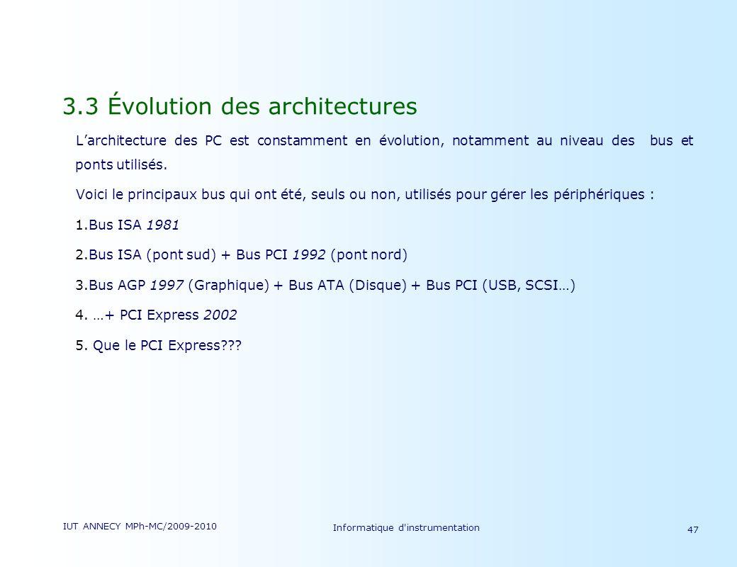 IUT ANNECY MPh-MC/2009-2010 Informatique d'instrumentation 47 3.3 Évolution des architectures Larchitecture des PC est constamment en évolution, notam