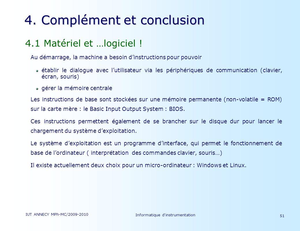 IUT ANNECY MPh-MC/2009-2010 Informatique d'instrumentation 51 4. Complément et conclusion 4.1 Matériel et …logiciel ! Au démarrage, la machine a besoi