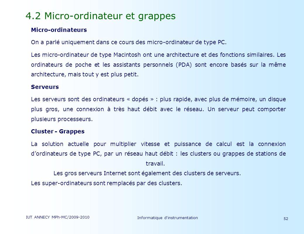 IUT ANNECY MPh-MC/2009-2010 Informatique d'instrumentation 52 4.2 Micro-ordinateur et grappes Micro-ordinateurs On a parlé uniquement dans ce cours de