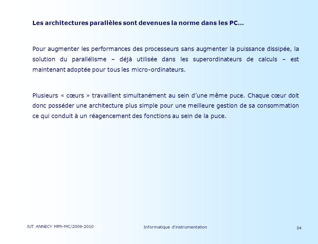 IUT ANNECY MPh-MC/2009-2010 Informatique d'instrumentation 54 Les architectures parallèles sont devenues la norme dans les PC… Pour augmenter les perf