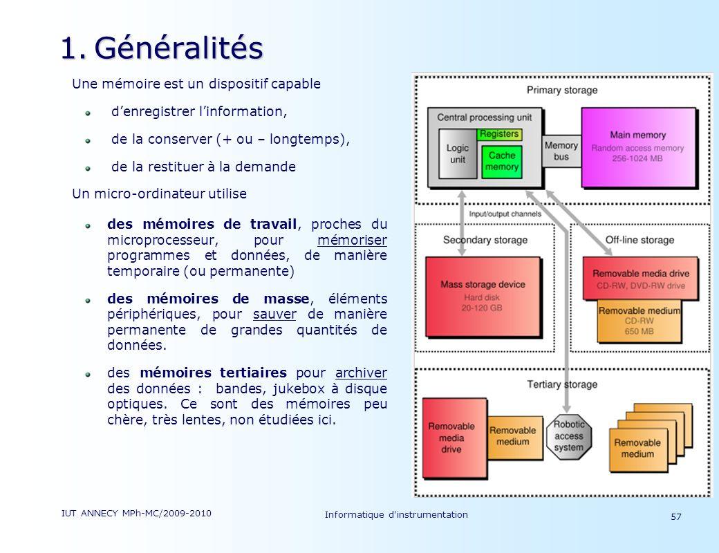 IUT ANNECY MPh-MC/2009-2010 Informatique d'instrumentation 57 1.Généralités Une mémoire est un dispositif capable denregistrer linformation, de la con