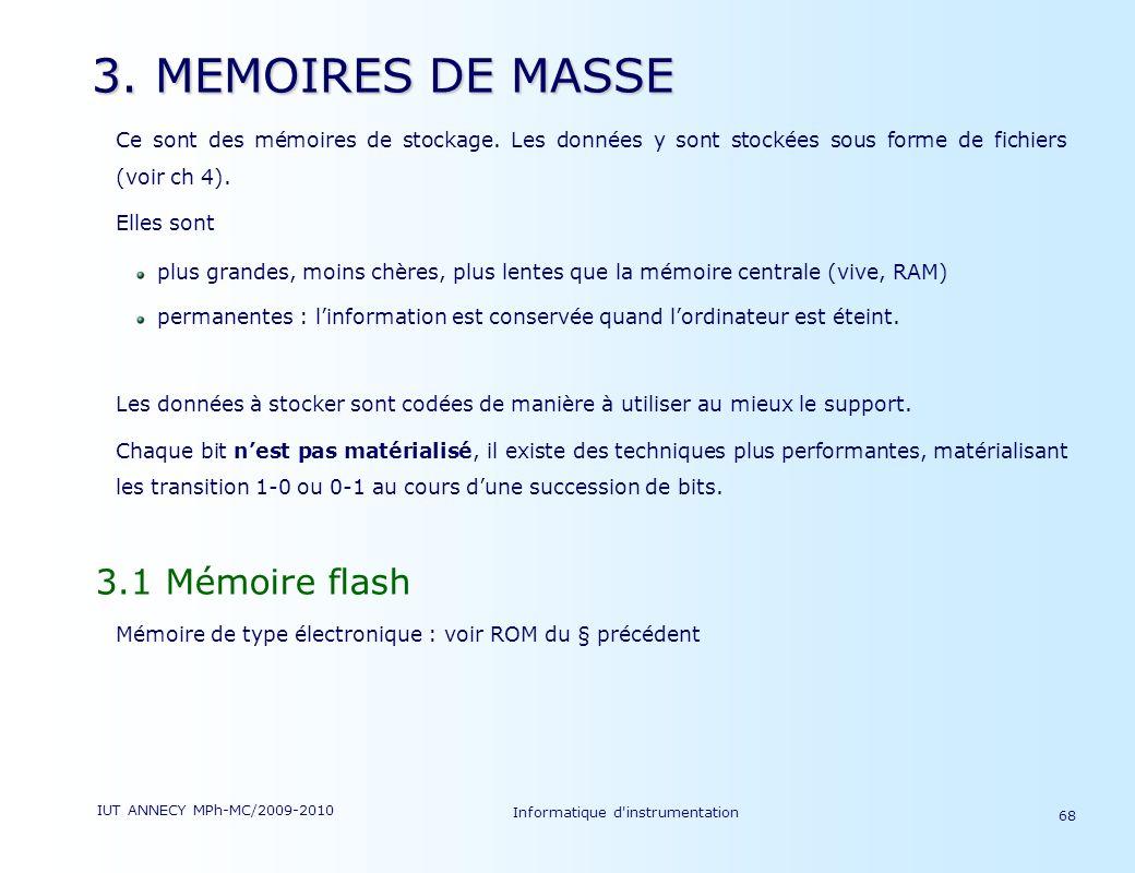IUT ANNECY MPh-MC/2009-2010 Informatique d'instrumentation 68 3. MEMOIRES DE MASSE Ce sont des mémoires de stockage. Les données y sont stockées sous