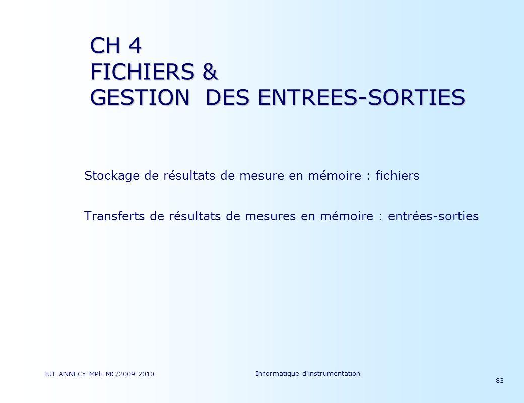 IUT ANNECY MPh-MC/2009-2010 Informatique d'instrumentation 83 Stockage de résultats de mesure en mémoire : fichiers Transferts de résultats de mesures
