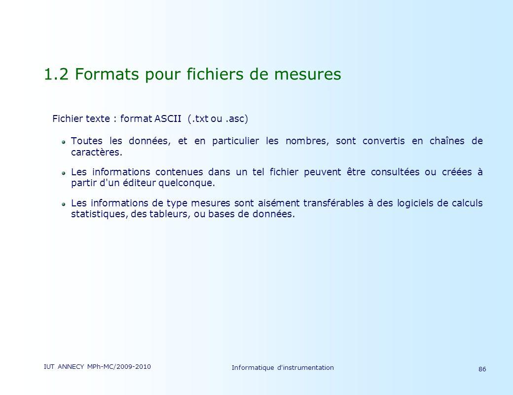 IUT ANNECY MPh-MC/2009-2010 Informatique d'instrumentation 86 1.2 Formats pour fichiers de mesures Fichier texte : format ASCII (.txt ou.asc) Toutes l