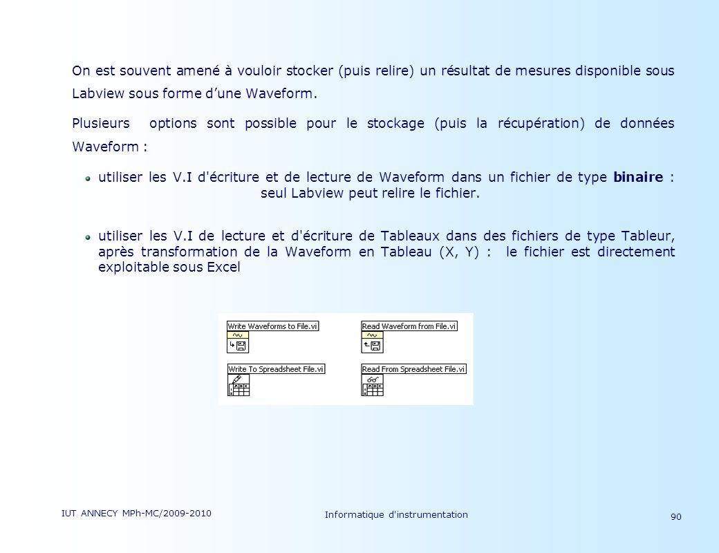 IUT ANNECY MPh-MC/2009-2010 Informatique d'instrumentation 90 On est souvent amené à vouloir stocker (puis relire) un résultat de mesures disponible s