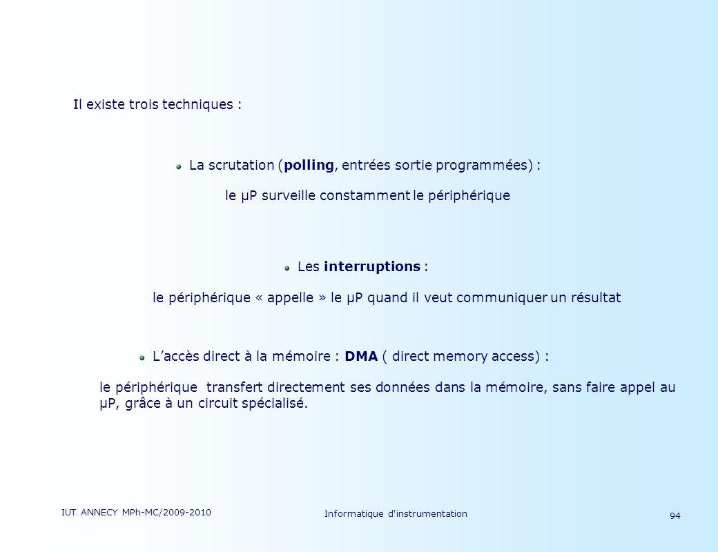 IUT ANNECY MPh-MC/2009-2010 Informatique d'instrumentation 94 Il existe trois techniques : La scrutation (polling, entrées sortie programmées) : le µP