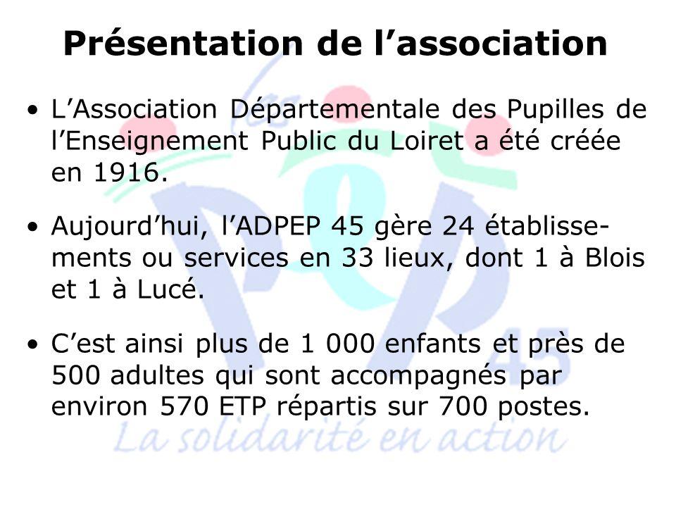 Les établissements et services de lADPEP 45 1 CMPP et 1 CAMSP : à Montargis et Gien 3 IME : à Baule, Orléans La Source et Gien 4 SESSAD (2SAI) : sur 11 antennes 1 SESSAD-PRO : à Olivet 2 ESAT : à St Jean de Braye et Boigny sur Bionne, et à Dampierre en Burly et Gien 1 Entreprise Adaptée : à Dampierre 2 foyers dhébergement : à Orléans et Gien 1 accueil de jour : à Gien 2 SAVS : à Gien et Orléans 2 MAS : à St Jean de Braye et Boigny sur Bionne 1 SAMSAH : à St Jean de Braye 1 SSIAD Personnes Handicapées : à St Jean de Braye