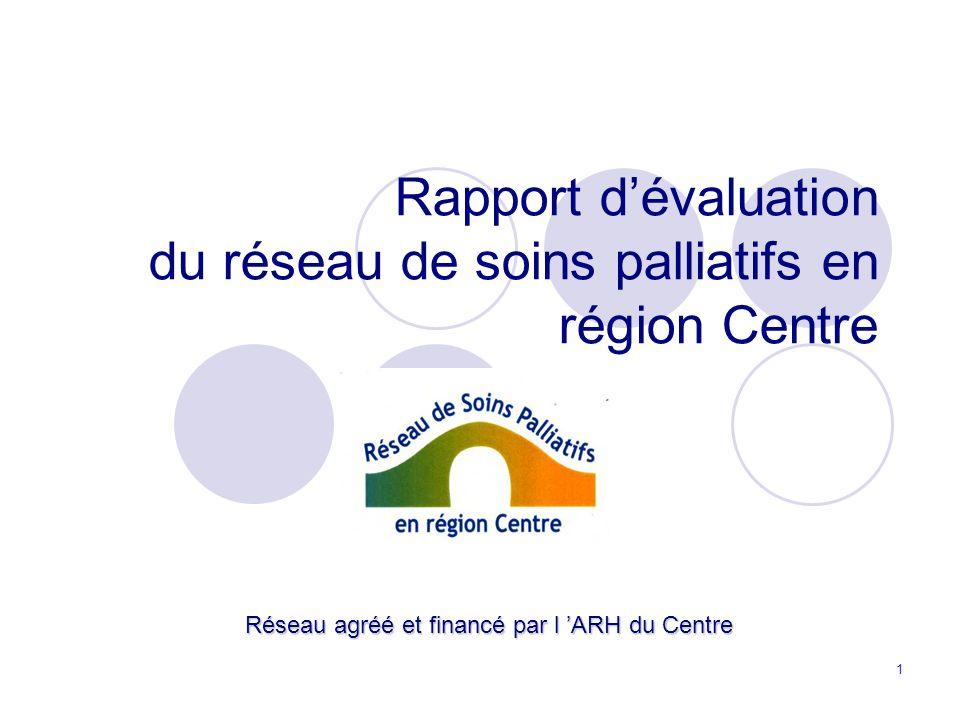 1 Rapport dévaluation du réseau de soins palliatifs en région Centre Réseau agréé et financé par l ARH du Centre