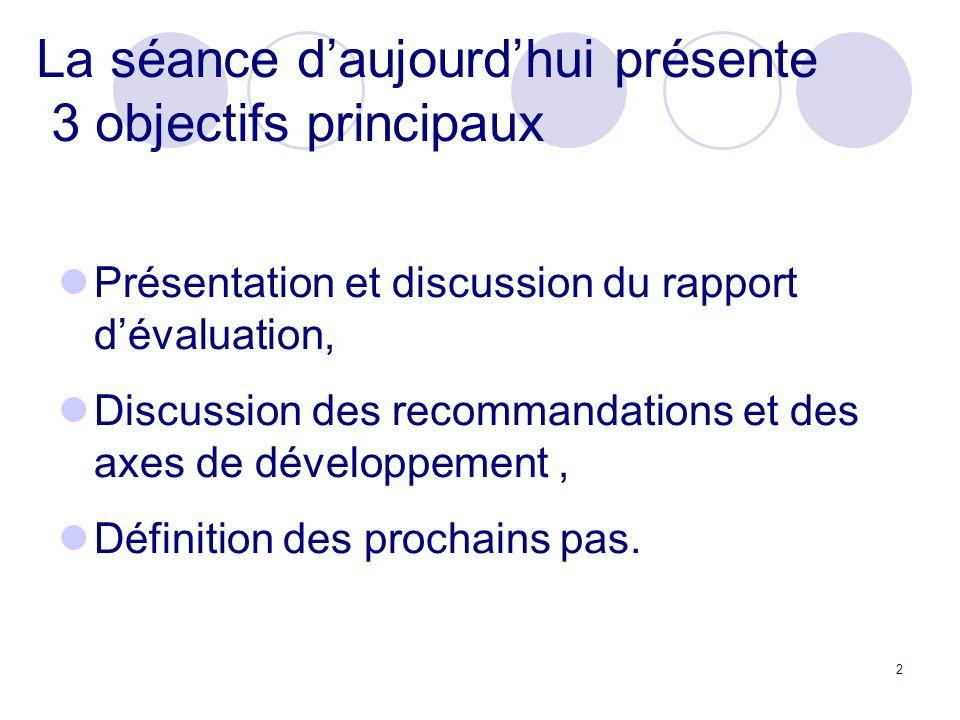2 La séance daujourdhui présente 3 objectifs principaux Présentation et discussion du rapport dévaluation, Discussion des recommandations et des axes de développement, Définition des prochains pas.