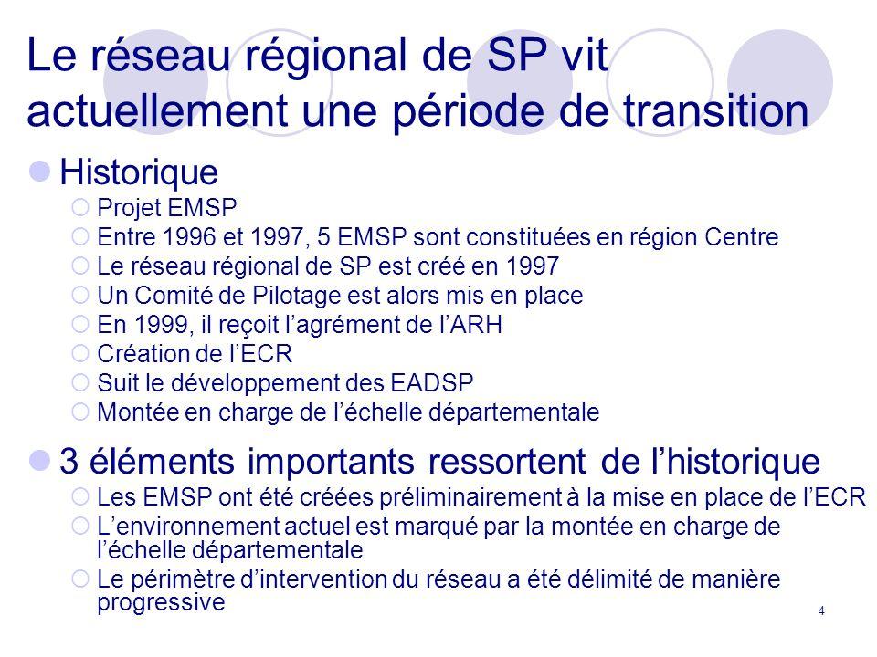 4 Le réseau régional de SP vit actuellement une période de transition Historique Projet EMSP Entre 1996 et 1997, 5 EMSP sont constituées en région Centre Le réseau régional de SP est créé en 1997 Un Comité de Pilotage est alors mis en place En 1999, il reçoit lagrément de lARH Création de lECR Suit le développement des EADSP Montée en charge de léchelle départementale 3 éléments importants ressortent de lhistorique Les EMSP ont été créées préliminairement à la mise en place de lECR Lenvironnement actuel est marqué par la montée en charge de léchelle départementale Le périmètre dintervention du réseau a été délimité de manière progressive