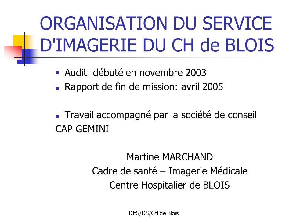 DES/DS/CH de Blois ORGANISATION DU SERVICE D IMAGERIE DU CH de BLOIS Audit débuté en novembre 2003 Rapport de fin de mission: avril 2005 Travail accompagné par la société de conseil CAP GEMINI Martine MARCHAND Cadre de santé – Imagerie Médicale Centre Hospitalier de BLOIS