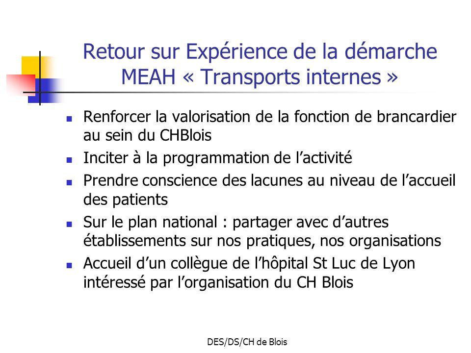 DES/DS/CH de Blois Retour sur Expérience de la démarche MEAH « Transports internes » Renforcer la valorisation de la fonction de brancardier au sein d