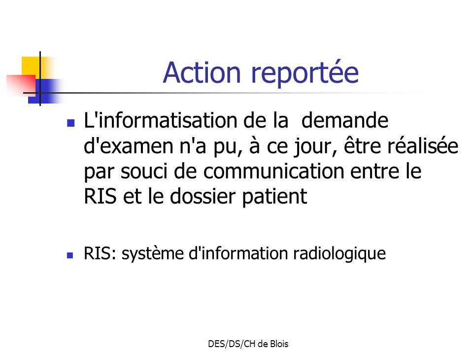DES/DS/CH de Blois Action reportée L informatisation de la demande d examen n a pu, à ce jour, être réalisée par souci de communication entre le RIS et le dossier patient RIS: système d information radiologique