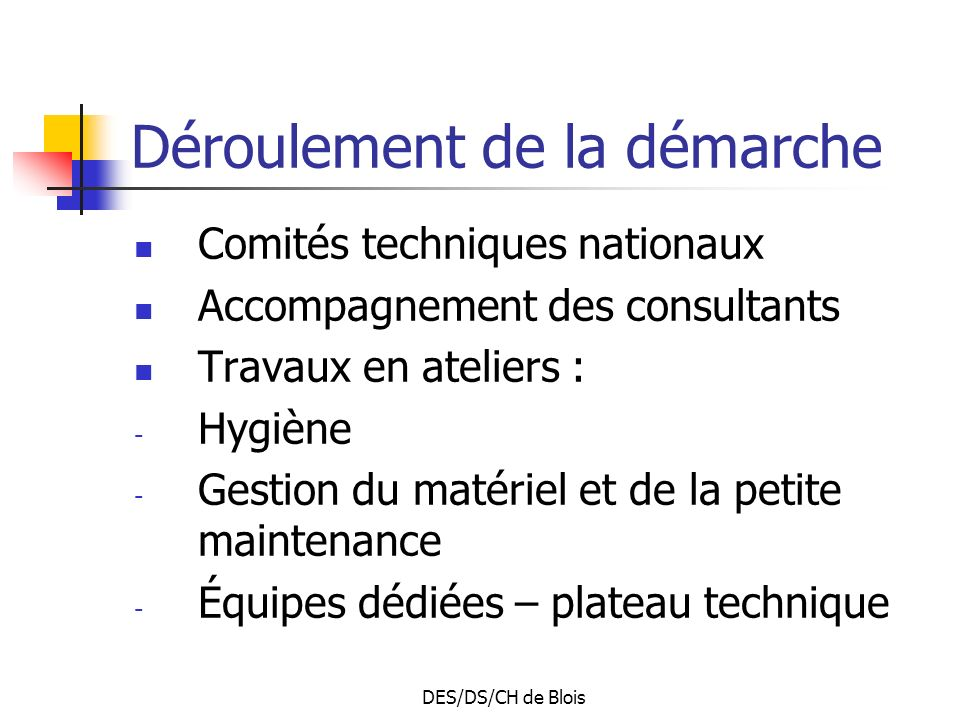 DES/DS/CH de Blois Déroulement de la démarche Comités techniques nationaux Accompagnement des consultants Travaux en ateliers : - Hygiène - Gestion du