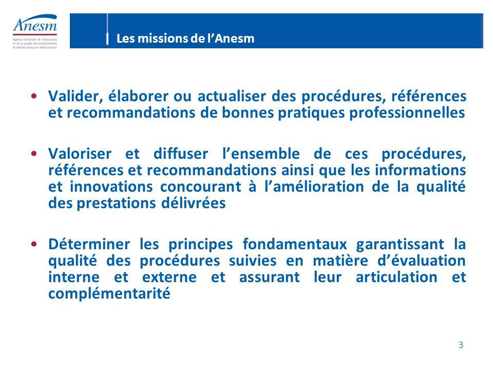 3 Les missions de lAnesm Valider, élaborer ou actualiser des procédures, références et recommandations de bonnes pratiques professionnelles Valoriser