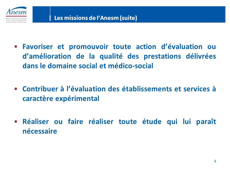 4 Les missions de lAnesm (suite) Favoriser et promouvoir toute action dévaluation ou damélioration de la qualité des prestations délivrées dans le dom