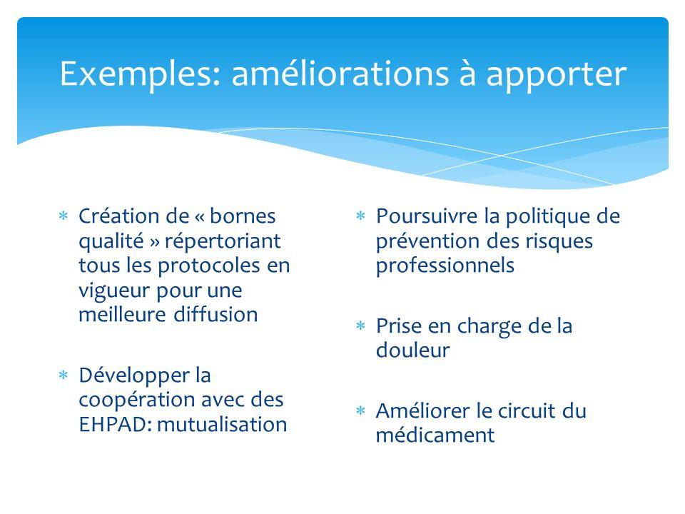 Exemples: améliorations à apporter Création de « bornes qualité » répertoriant tous les protocoles en vigueur pour une meilleure diffusion Développer