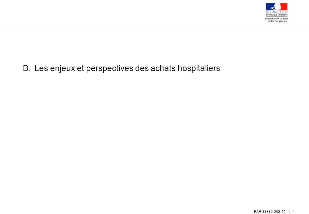 PAR-33382-002-11 5 La croissance soutenue des dépenses de médicaments dans les hôpitaux en fait le premier poste d achats – les dépenses médicales représentent ainsi ~60% de la masse achats totale Évolution des dépenses achats par catégories – Hôpitaux publics et privés PSPH [données HT en EUR Mds – 2003 à 2005] Source: DHOS Sous-direction F1 et analyses Roland Berger TMCA 1) 03-05 TMCA 1) 03-05 + 4,7% + 7,1% Titre 3 (charges d exploitation à caractère hôtelier et général) Titre 2 (charges d exploitation à caractère médical) + 1,6% 1) TMCA : Taux Moyen de Croissance Annuel, sur la période 2003-2005 14,7 15,4 16,1 Consommables Dispositifs méd Médicaments + 6,8% + 7,6% + 3,6%