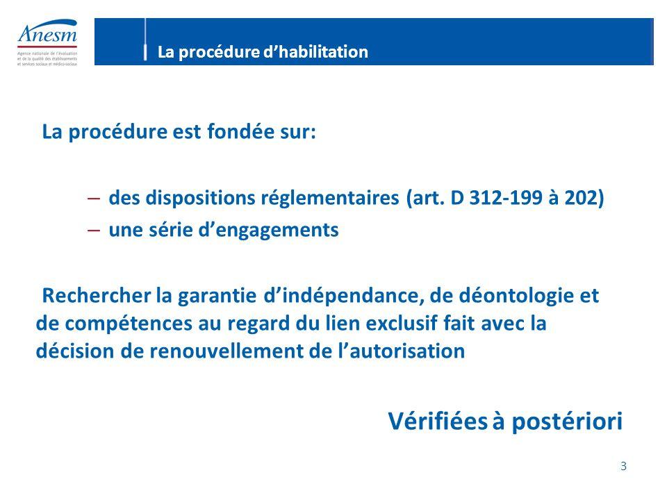 3 La procédure dhabilitation La procédure est fondée sur: – des dispositions réglementaires (art.