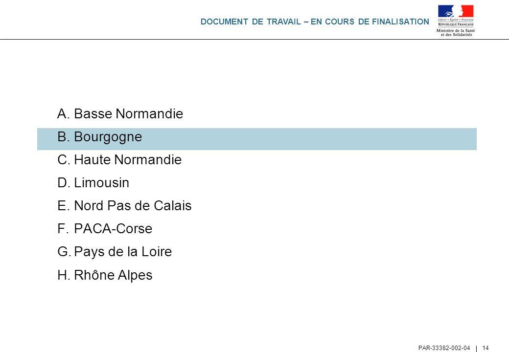 DOCUMENT DE TRAVAIL – EN COURS DE FINALISATION PAR-33382-002-04 14 A.Basse Normandie B.Bourgogne C.Haute Normandie D.Limousin E.Nord Pas de Calais F.P