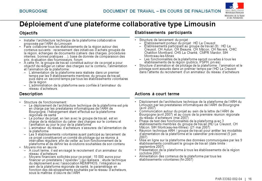 DOCUMENT DE TRAVAIL – EN COURS DE FINALISATION PAR-33382-002-04 16 Déploiement d'une plateforme collaborative type Limousin Objectifs Installer l'arch