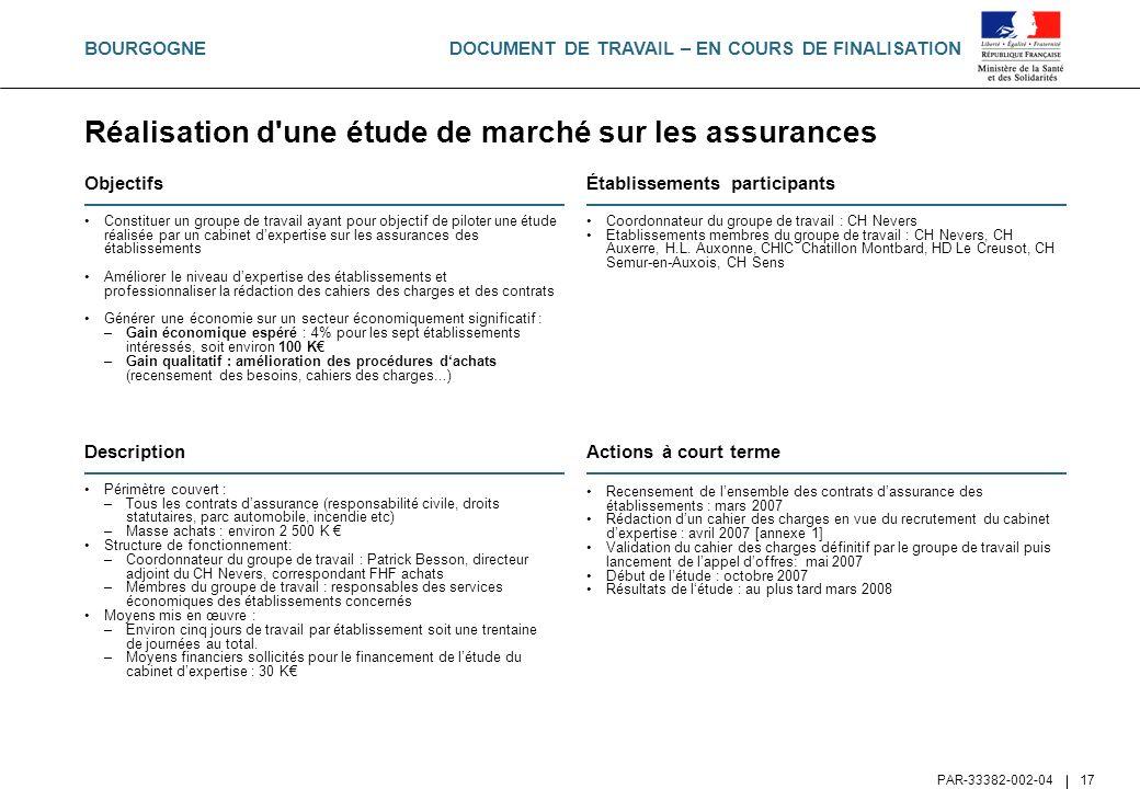 DOCUMENT DE TRAVAIL – EN COURS DE FINALISATION PAR-33382-002-04 17 Réalisation d'une étude de marché sur les assurances Objectifs Constituer un groupe