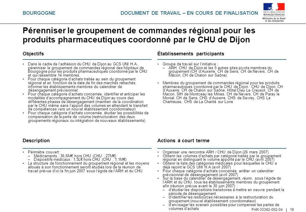 DOCUMENT DE TRAVAIL – EN COURS DE FINALISATION PAR-33382-002-04 18 Pérenniser le groupement de commandes régional pour les produits pharmaceutiques co