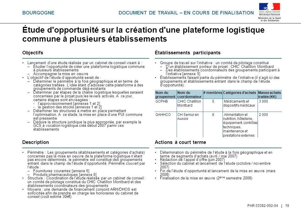 DOCUMENT DE TRAVAIL – EN COURS DE FINALISATION PAR-33382-002-04 19 Étude d'opportunité sur la création d'une plateforme logistique commune à plusieurs
