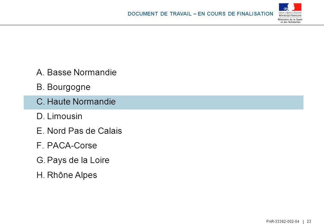 DOCUMENT DE TRAVAIL – EN COURS DE FINALISATION PAR-33382-002-04 23 A.Basse Normandie B.Bourgogne C.Haute Normandie D.Limousin E.Nord Pas de Calais F.P