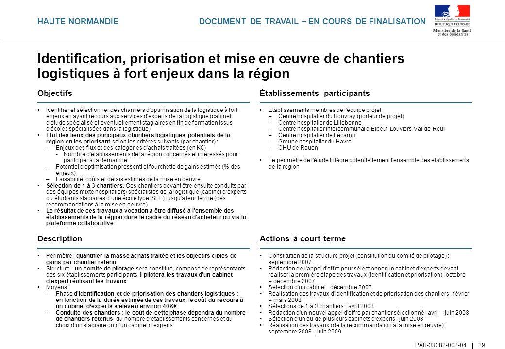 DOCUMENT DE TRAVAIL – EN COURS DE FINALISATION PAR-33382-002-04 29 Identification, priorisation et mise en œuvre de chantiers logistiques à fort enjeu