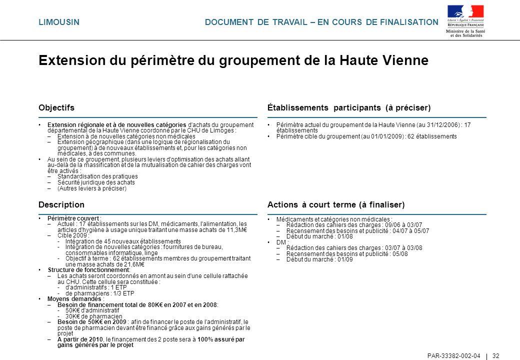 DOCUMENT DE TRAVAIL – EN COURS DE FINALISATION PAR-33382-002-04 32 Extension du périmètre du groupement de la Haute Vienne Objectifs Extension régiona