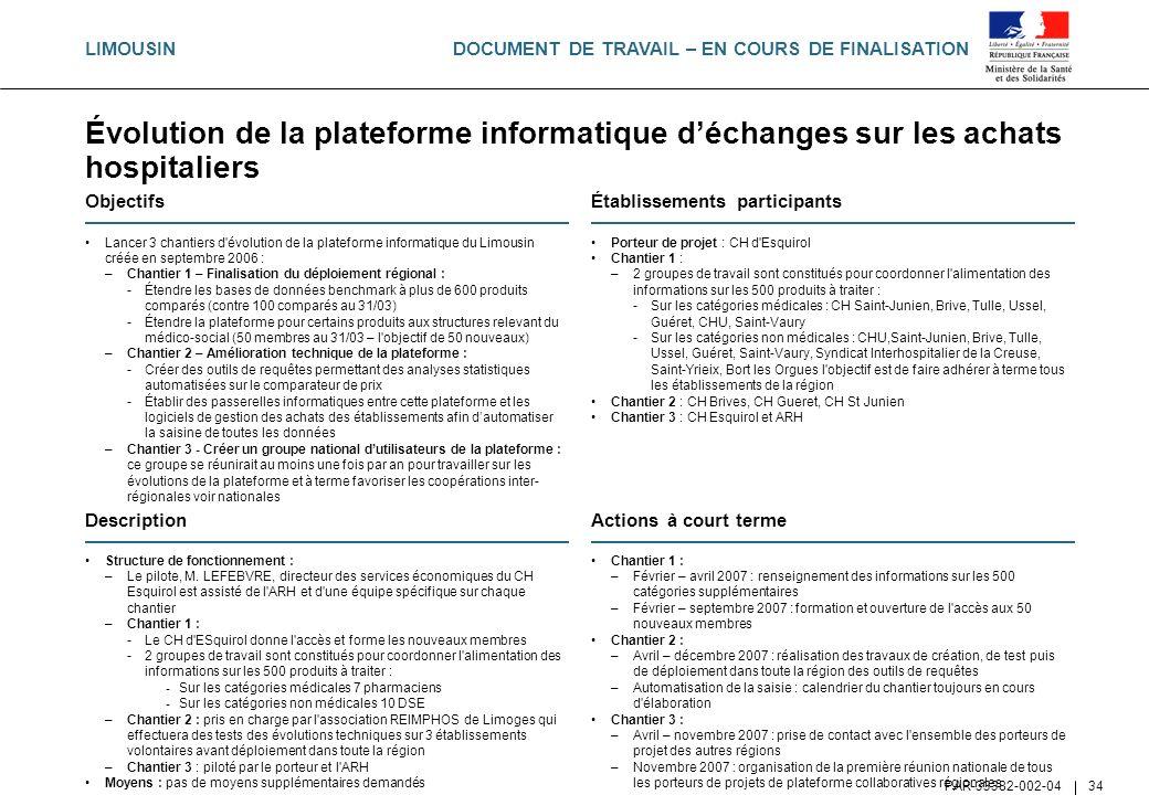DOCUMENT DE TRAVAIL – EN COURS DE FINALISATION PAR-33382-002-04 34 Évolution de la plateforme informatique déchanges sur les achats hospitaliers Objec