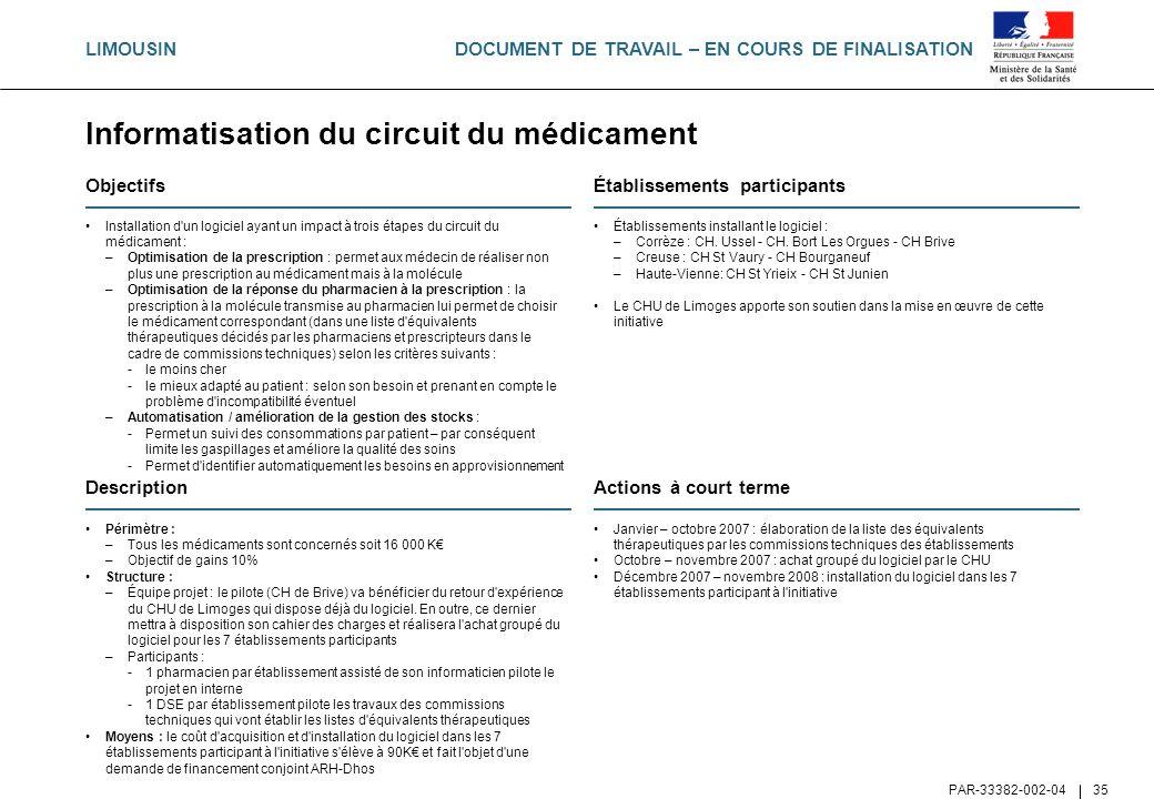 DOCUMENT DE TRAVAIL – EN COURS DE FINALISATION PAR-33382-002-04 35 Informatisation du circuit du médicament Objectifs Installation d'un logiciel ayant