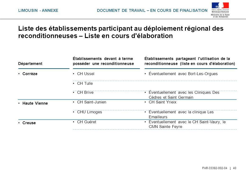 DOCUMENT DE TRAVAIL – EN COURS DE FINALISATION PAR-33382-002-04 40 Liste des établissements participant au déploiement régional des reconditionneuses