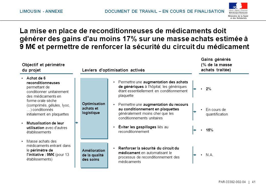 DOCUMENT DE TRAVAIL – EN COURS DE FINALISATION PAR-33382-002-04 41 La mise en place de reconditionneuses de médicaments doit générer des gains d'au mo