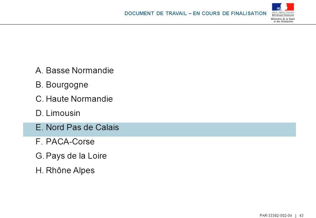 DOCUMENT DE TRAVAIL – EN COURS DE FINALISATION PAR-33382-002-04 43 A.Basse Normandie B.Bourgogne C.Haute Normandie D.Limousin E.Nord Pas de Calais F.P