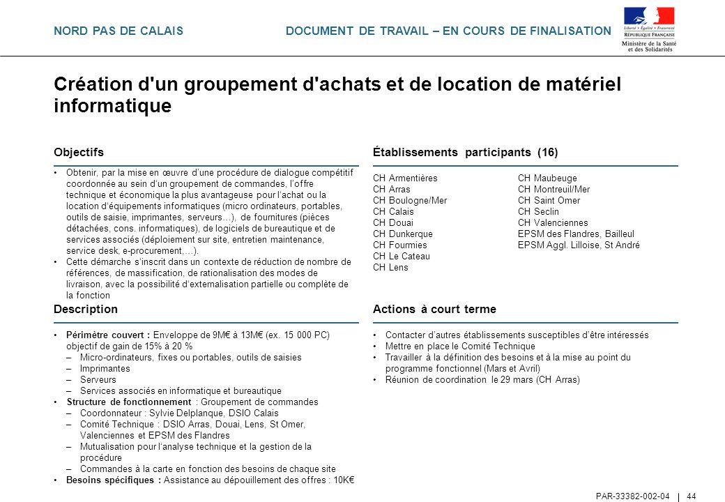 DOCUMENT DE TRAVAIL – EN COURS DE FINALISATION PAR-33382-002-04 44 Création d'un groupement d'achats et de location de matériel informatique Objectifs