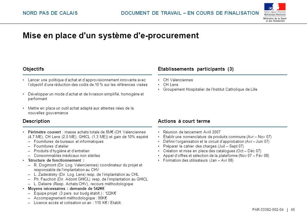 DOCUMENT DE TRAVAIL – EN COURS DE FINALISATION PAR-33382-002-04 45 Mise en place d'un système d'e-procurement Objectifs Lancer une politique dachat et