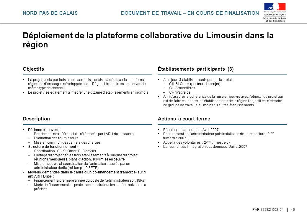 DOCUMENT DE TRAVAIL – EN COURS DE FINALISATION PAR-33382-002-04 46 Déploiement de la plateforme collaborative du Limousin dans la région Objectifs Le
