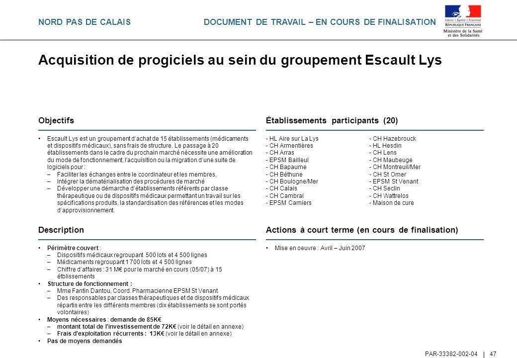 DOCUMENT DE TRAVAIL – EN COURS DE FINALISATION PAR-33382-002-04 47 Acquisition de progiciels au sein du groupement Escault Lys Objectifs Escault Lys e